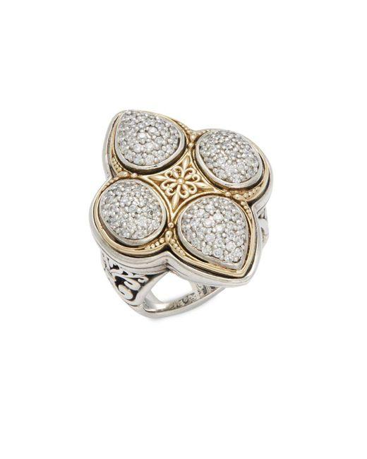 Konstantino | Metallic Diamond Classics White Diamond, 18k Yellow Gold & Sterling Silver Pave Ring | Lyst