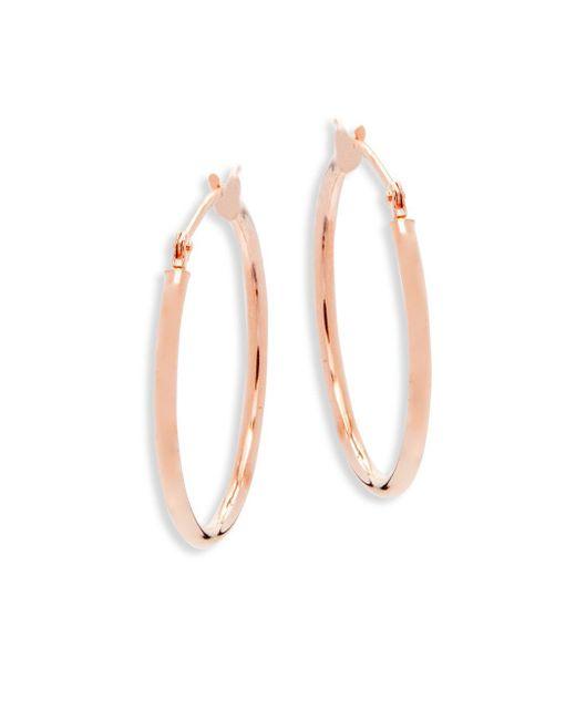"""Saks Fifth Avenue - Metallic 14k Rose Gold Hoop Earrings/1"""" - Lyst"""