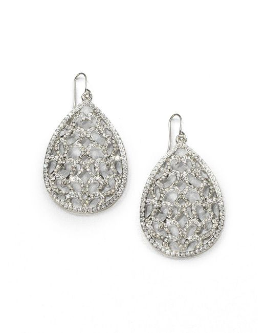 ABS By Allen Schwartz | Metallic Pavé Openwork Teardrop Earrings | Lyst