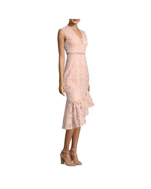 Three Floor Pink Frill In Me Trumpet Dress
