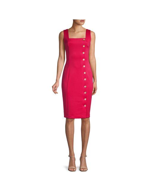Calvin Klein Red Button Sheath Apron Dress