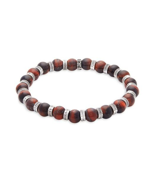 Perepaix - Stainless Steel & Red Tiger's Eye Beaded Bracelet - Lyst