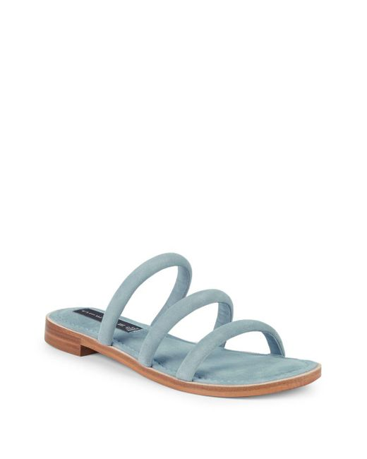 Steven by Steve Madden Blue Chacha Strappy Suede Slides