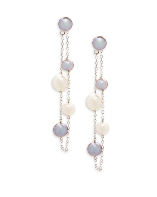 Belpearl - 6.5-9mm White & Gray Semi-round Freshwater Pearl And 14k White Gold Dangle Earrings - Lyst