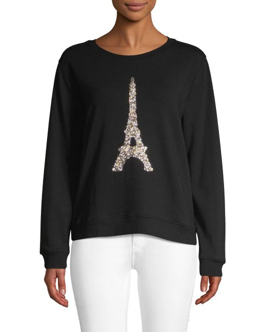 Karl Lagerfeld - Black Sequin Eiffel Tower Pullover - Lyst