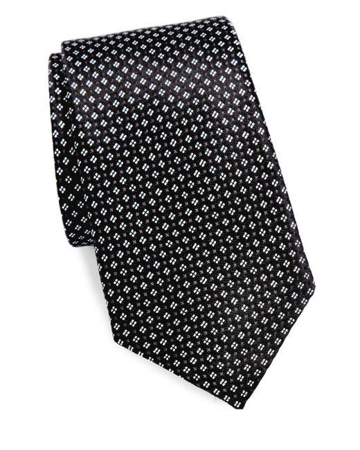 Saks Fifth Avenue - Black Micro Floral Silk Tie for Men - Lyst