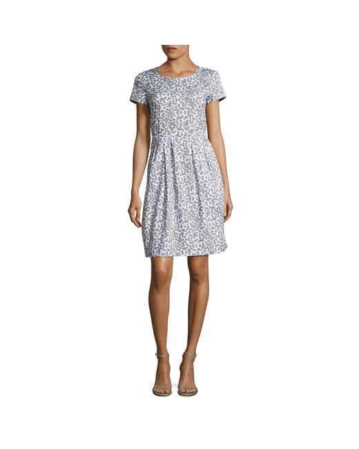 Lafayette 148 New York Blue 'gina' Pleated Dress