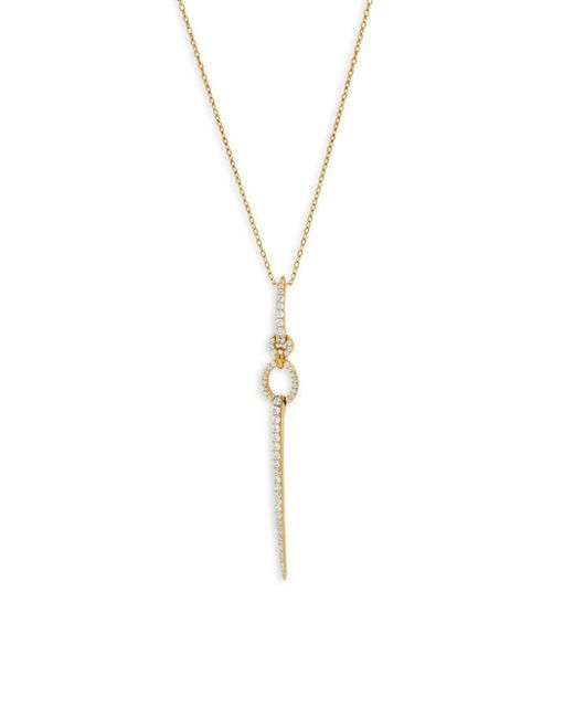 Adriana Orsini - Metallic Crystal And Sterling Silver Linear Pendant Necklace - Lyst