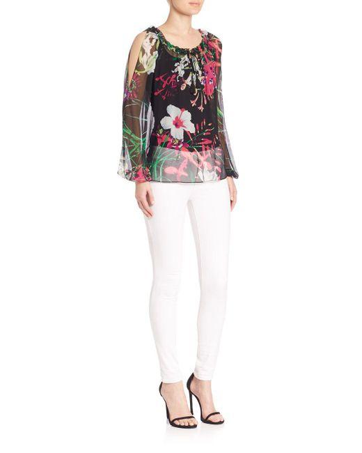 Elie Tahari - Black Mazy Silk Floral-print Blouse - Lyst