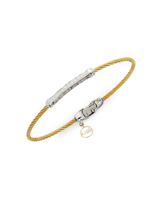 Alor - Metallic 18k Gold, Stainless Steel & Diamond Bracelet - Lyst