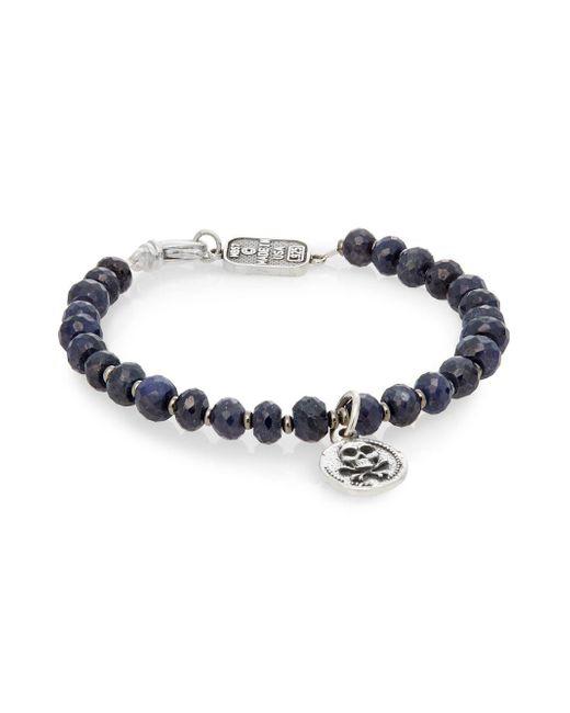 King Baby Studio - Metallic Sapphire & Sterling Silver Beaded Skull & Crossbones Bracelet - Lyst