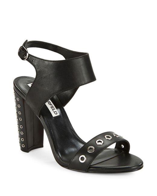 Karl Lagerfeld | Black Leola Grommet-accented Sandals | Lyst