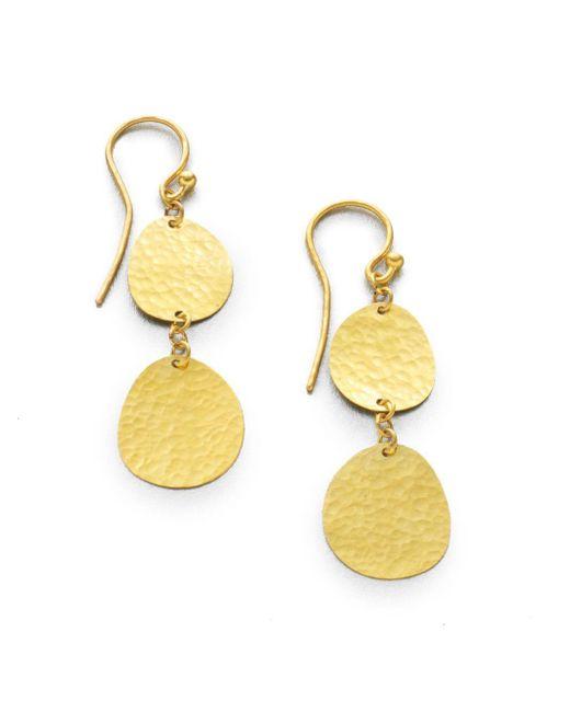 Gurhan - Metallic 24k Yellow Gold Disc Drop Earrings - Lyst