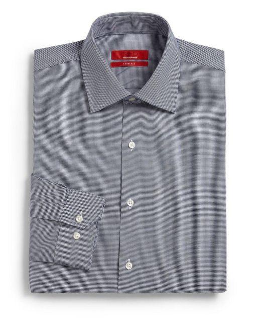 Saks Fifth Avenue Blue Trim-fit Mini-houndstooth Cotton Shirt for men