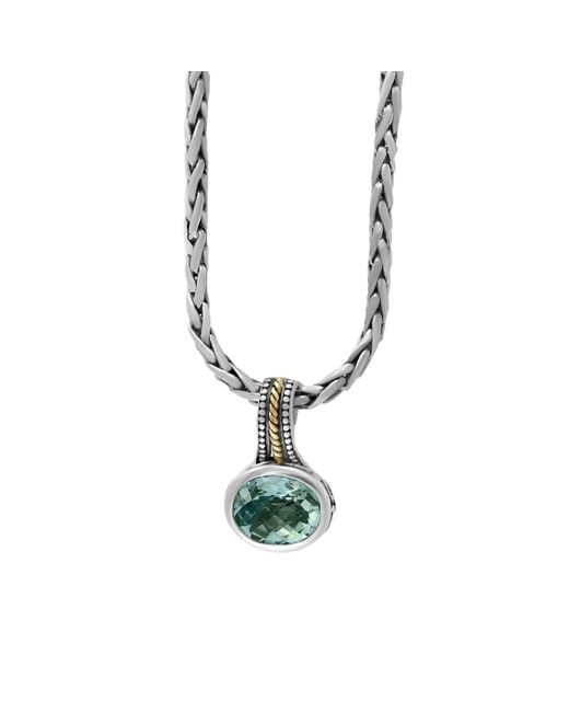 Effy Metallic 925 Sterling Silver, 18k Yellow Gold And Green Amethyst Necklace