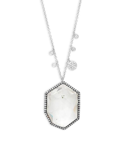 Meira T - Metallic Diamond And 14k White Gold Pendant Necklace, 0.53 Tcw - Lyst