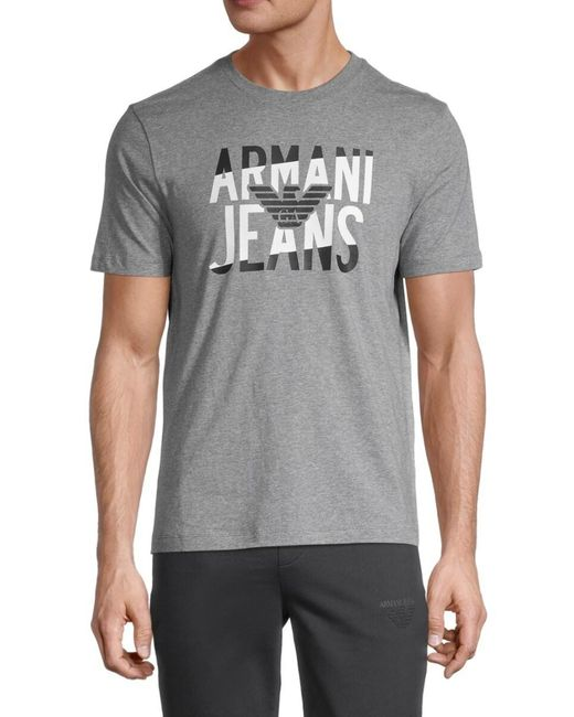Armani Jeans Gray Men's Heathered Logo Graphic T-shirt - Grey - Size L for men