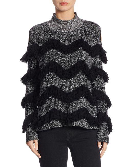 Zoe Jordan Black Hawking Cashmere-blend Cold-shoulder Sweater