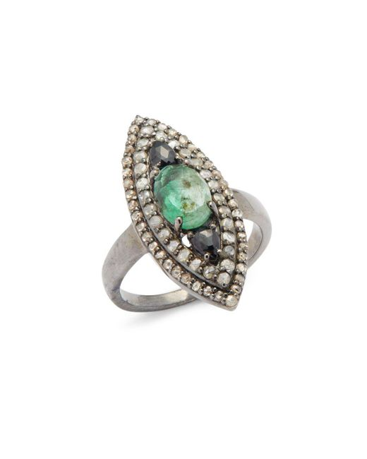 Bavna | Multicolor Diamond, Emerald & Sterling Silver Ring | Lyst