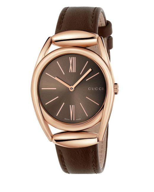 Gucci - Horsebit Rose Goldtone Brown Leather Strap Watch, Ya140408 - Lyst