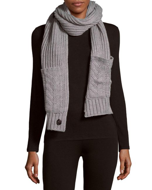 Vince Camuto | Black Cable-knit Pocket Scarf | Lyst