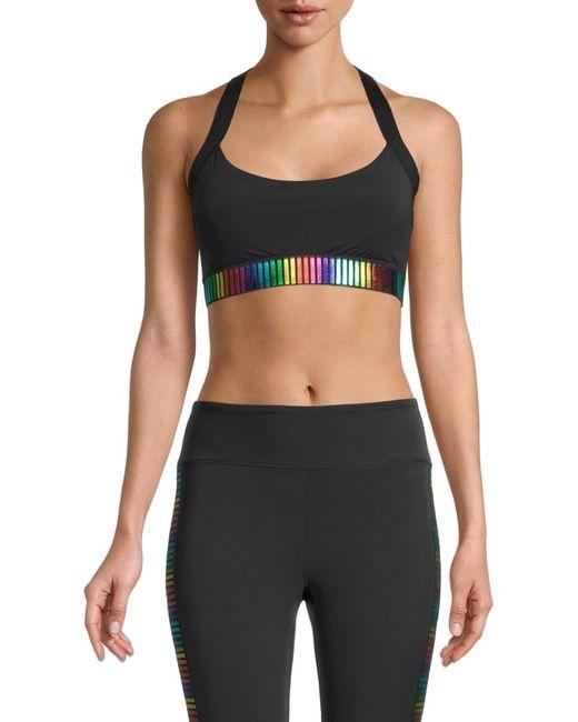 Pam & Gela Women's Rainbow Sports Bra - Black - Size M