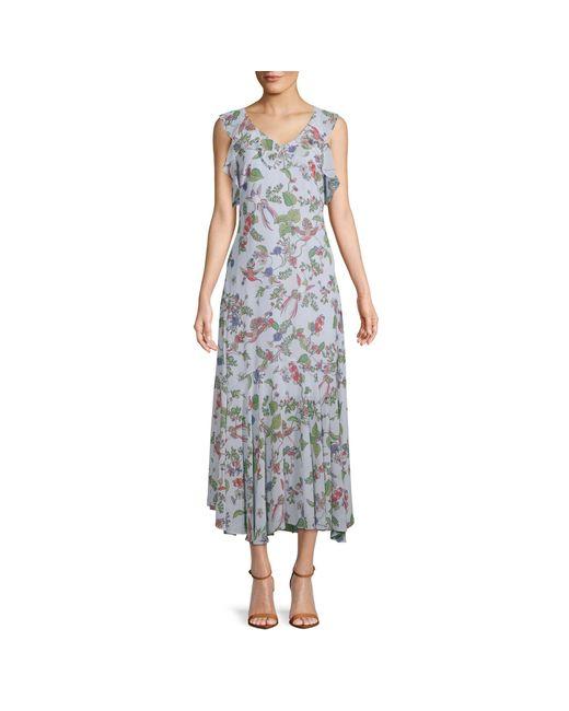 Nanette Nanette Lepore Blue Printed Chiffon Dress
