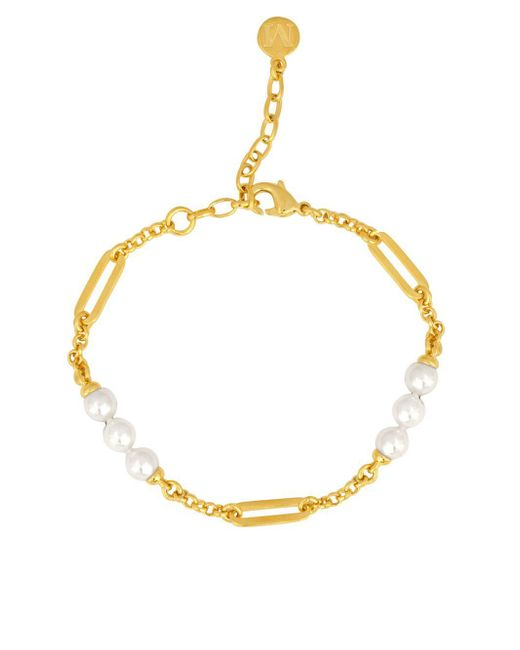 Majorica - White Modern Metal 6mm- 8mm Organic Man-made Pearls Goldplated Bracelet - Lyst