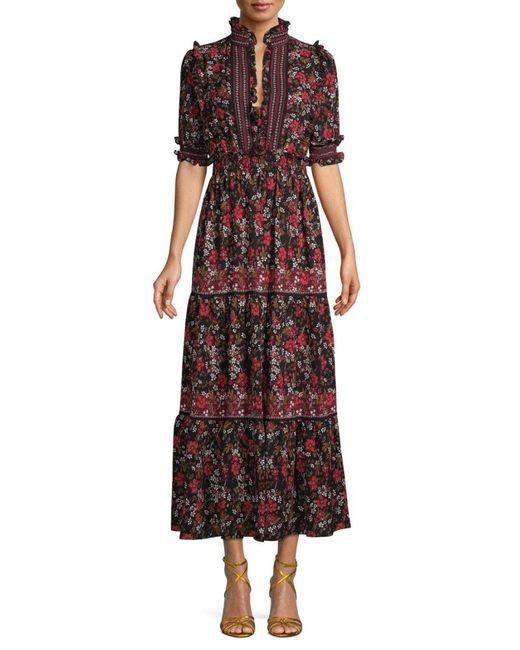 Max Studio Women's Floral Midi Dress - Black Ivory - Size L