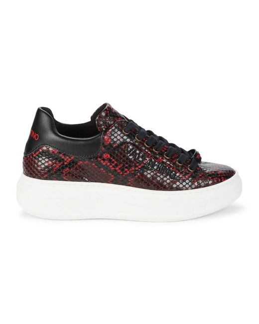 Valentino By Mario Valentino Gray Women's Fresia Snake-print Platform Sneakers - Grey - Size 6