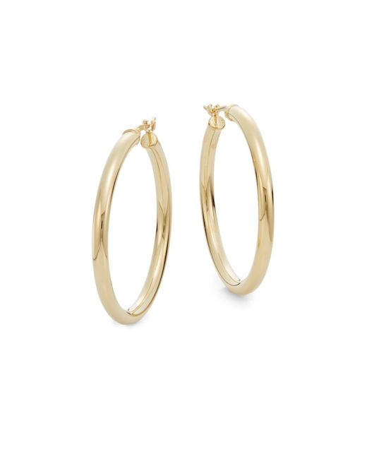"Saks Fifth Avenue Metallic 14k Yellow Gold Hoop Earrings/1.2"""