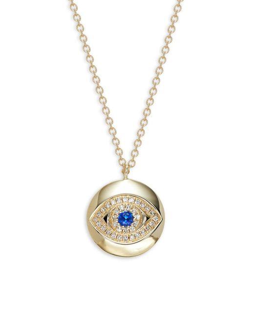 Saks Fifth Avenue Metallic Women's 14k Yellow Gold, Sapphire & Diamond Evil Eye Pendant Necklace