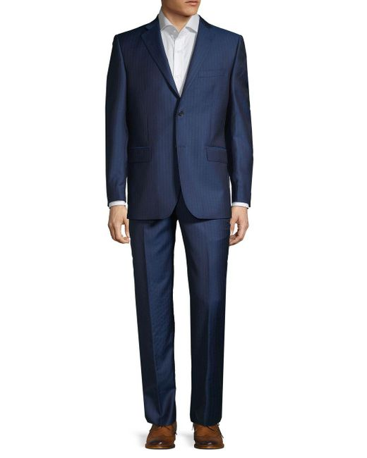 Saks Fifth Avenue Blue Classic-fit Pinstriped Wool Suit for men
