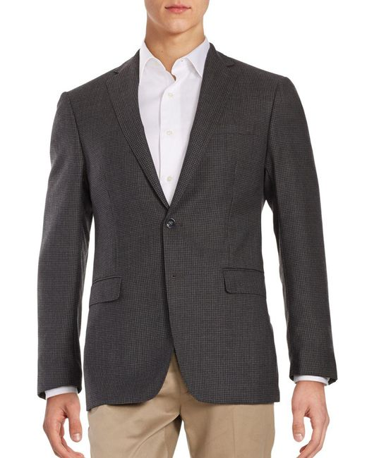 Calvin Klein - Gray Micro Checked Wool Blazer for Men - Lyst