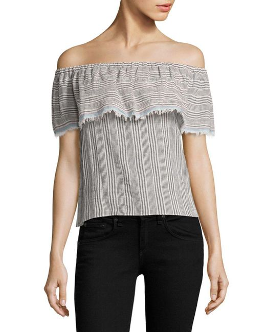 Bailey 44 Black Ruffled Striped Off-the-shoulder Top