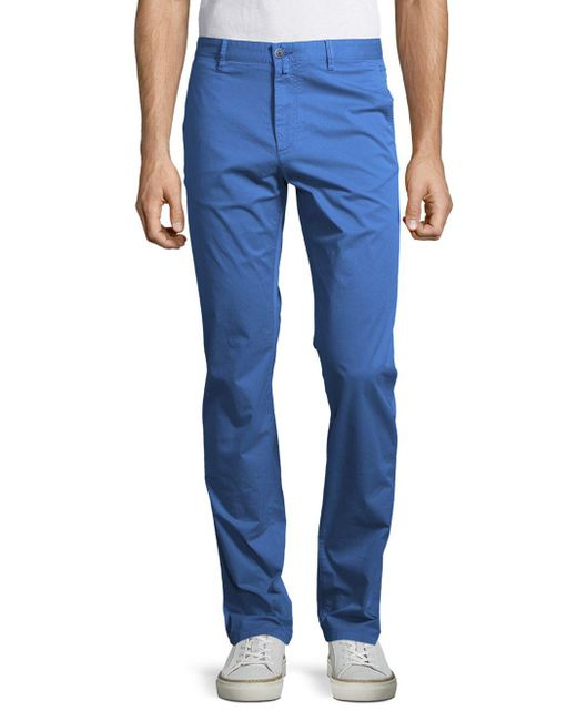 Bugatchi | Blue Solid Cotton-blend Pants for Men | Lyst