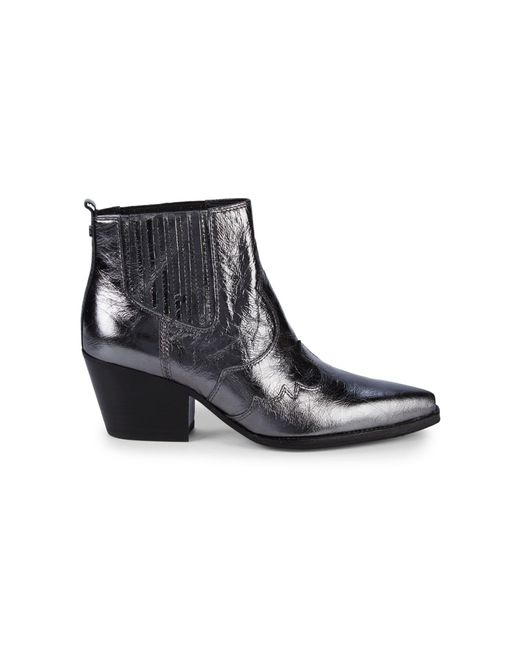 Sam Edelman Black Winona Distressed Metallic Leather Boots