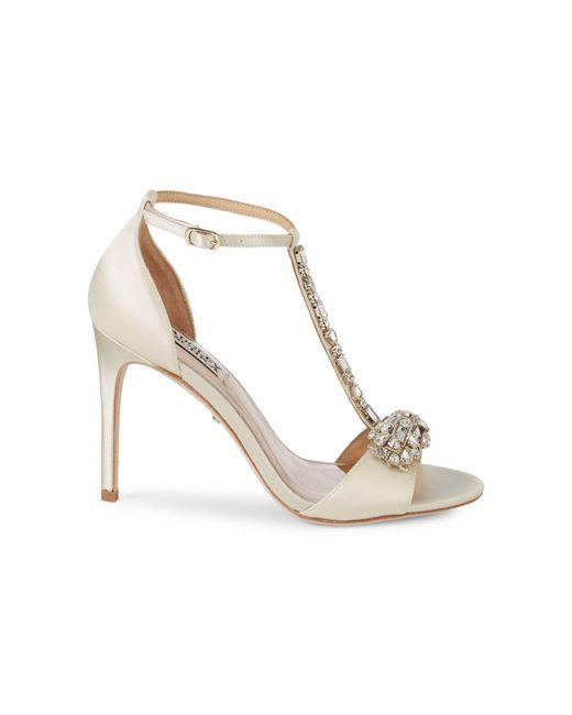 Badgley Mischka White Pascale Crystal Embellished Sandals