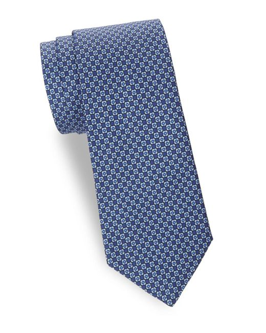 Saks Fifth Avenue - Blue Printed Silk Tie for Men - Lyst