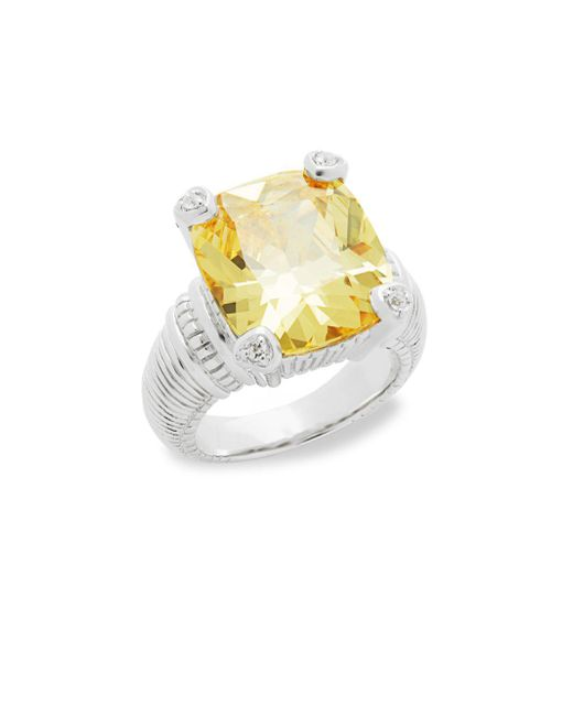 Judith Ripka - Metallic Canary Crystal & Sapphire Ring - Lyst