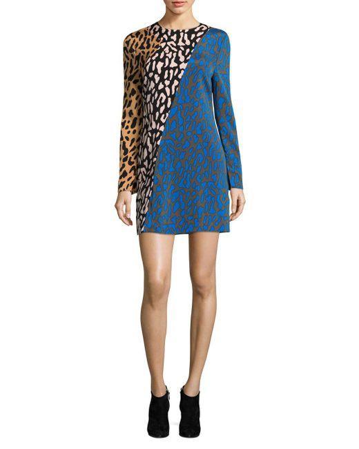 Diane von Furstenberg - Blue Bias Fitted Mini Dress - Lyst