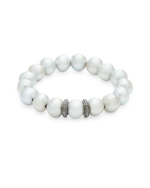 Bavna - Blue Freshwater Pearl Stretch Bracelet - Lyst