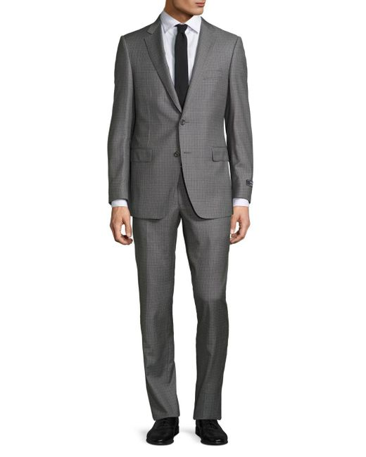 Saks Fifth Avenue - Gray Samuelsohn Classic-fit Box Plaid Wool Suit for Men - Lyst