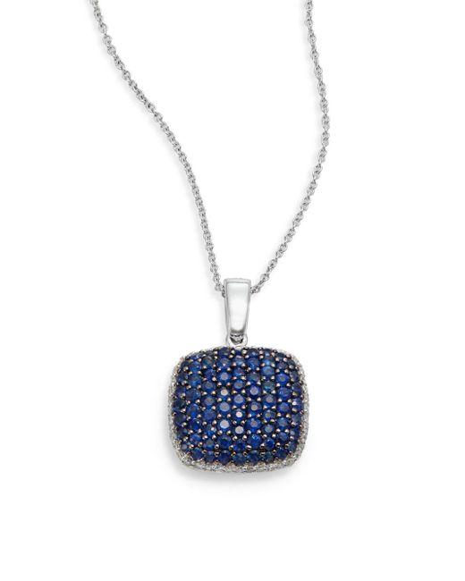 Effy - Blue Final Call Diamond, Sapphire & 14k White Gold Square Pendant Necklace - Lyst