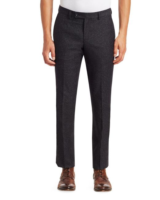 Saks Fifth Avenue Gray Modern Donegal Suit Pants for men