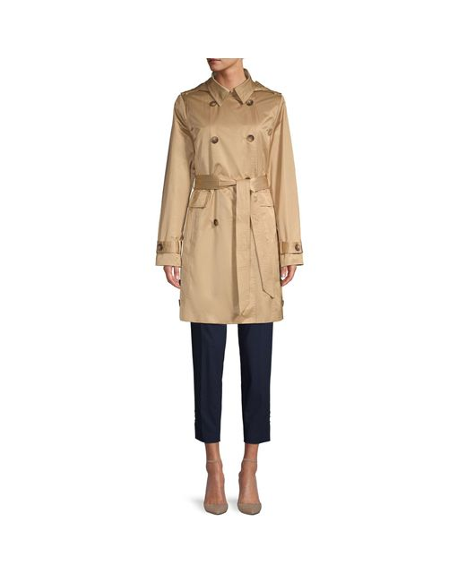 DKNY Black Hooded Double-breasted Trench Coat