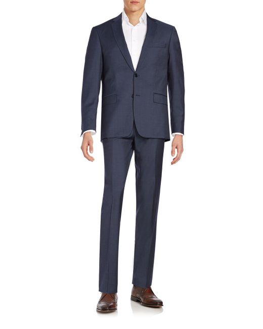 John Varvatos - Blue Regular-fit Wool Suit for Men - Lyst
