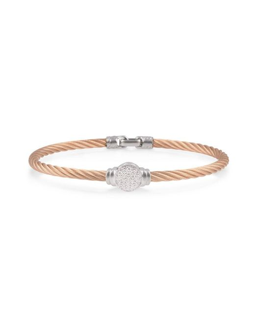 Alor - Pink Noir Diamond, Stainless Steel And 18k Gold Bracelet - Lyst