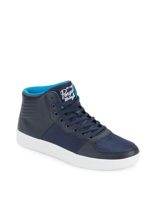 Original Penguin - Blue High-top Lace-up Sneakers for Men - Lyst