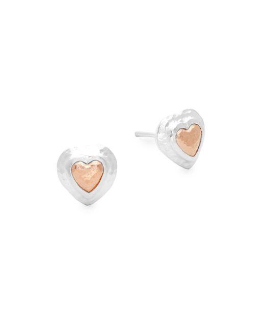 Gurhan - Metallic Romance Sterling Silver Heart Earrings - Lyst
